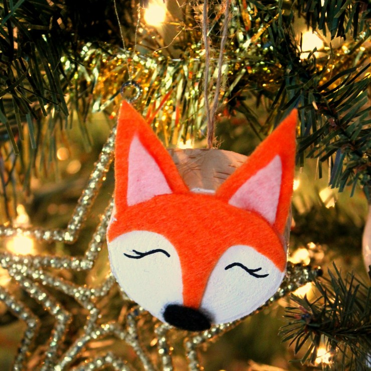 Wood Slice Fox Christmas Ornaments