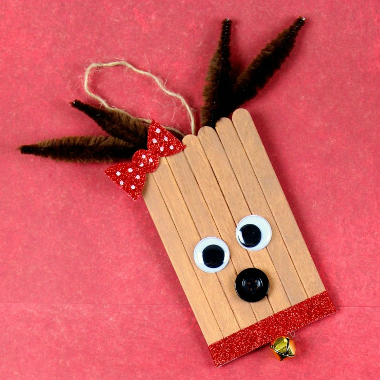 Popsicle Stick Rudolph & Clarice Ornaments