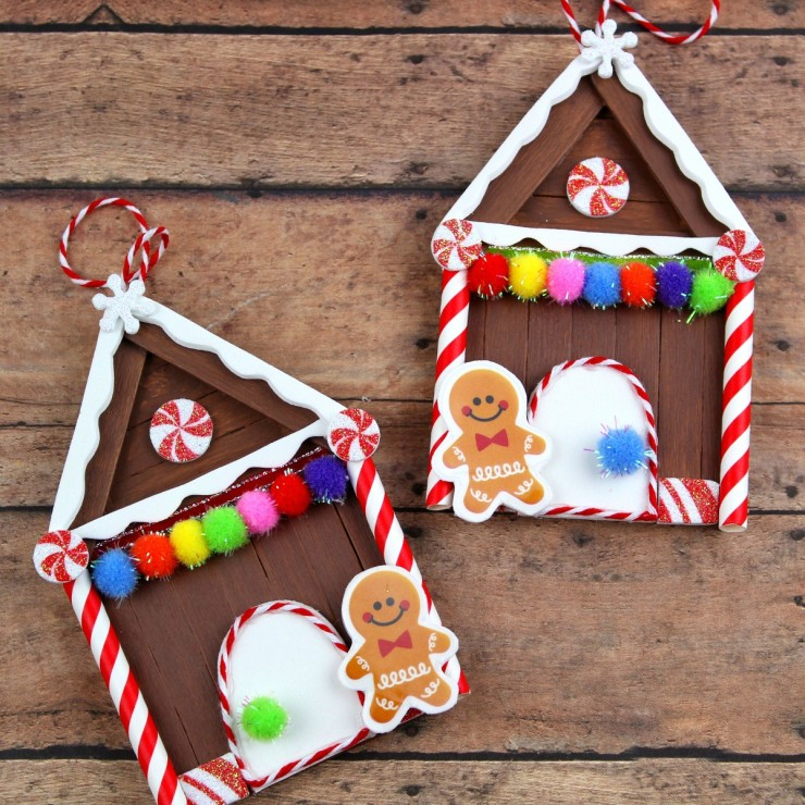 Popsicle Stick Gingerbread House Christmas Ornaments