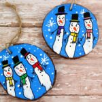 Wood Slice Fingerprint Snowmen Ornaments