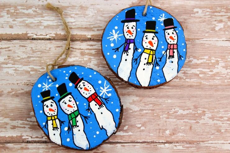 Wood Slice Fingerprint Snowmen Ornaments