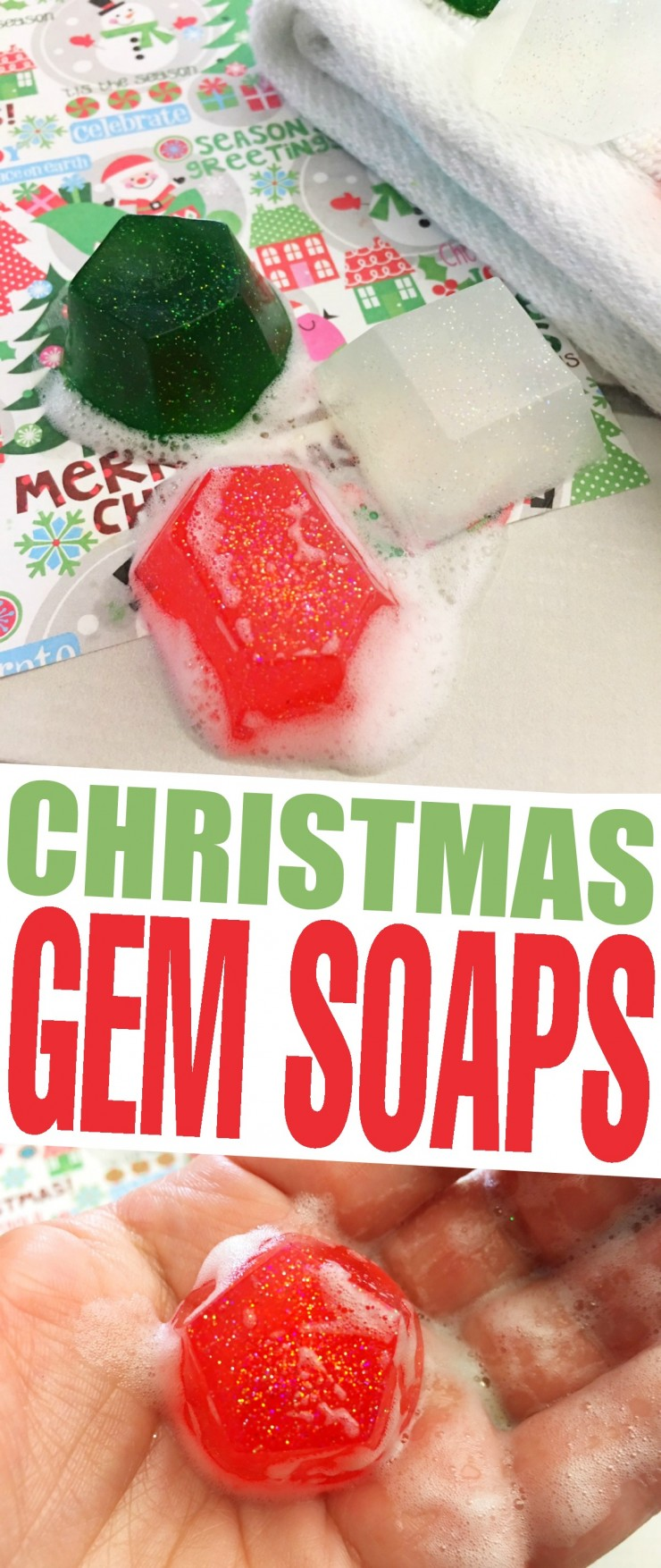 These Christmas Gem Soaps are an easy DIY that look great in your guest washroom over the holidays. They also make great gifts!