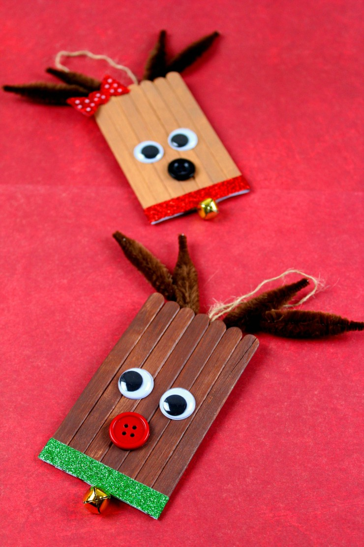 These Popsicle Stick Rudolph & Clarice Ornaments are an adorable and festive holiday craft that make for great gifts and look great on a Christmas tree. We had so much fun making these Christmas ornaments!