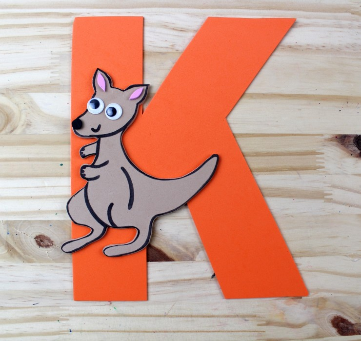 alphabet crafts for kids  k is for kangaroo