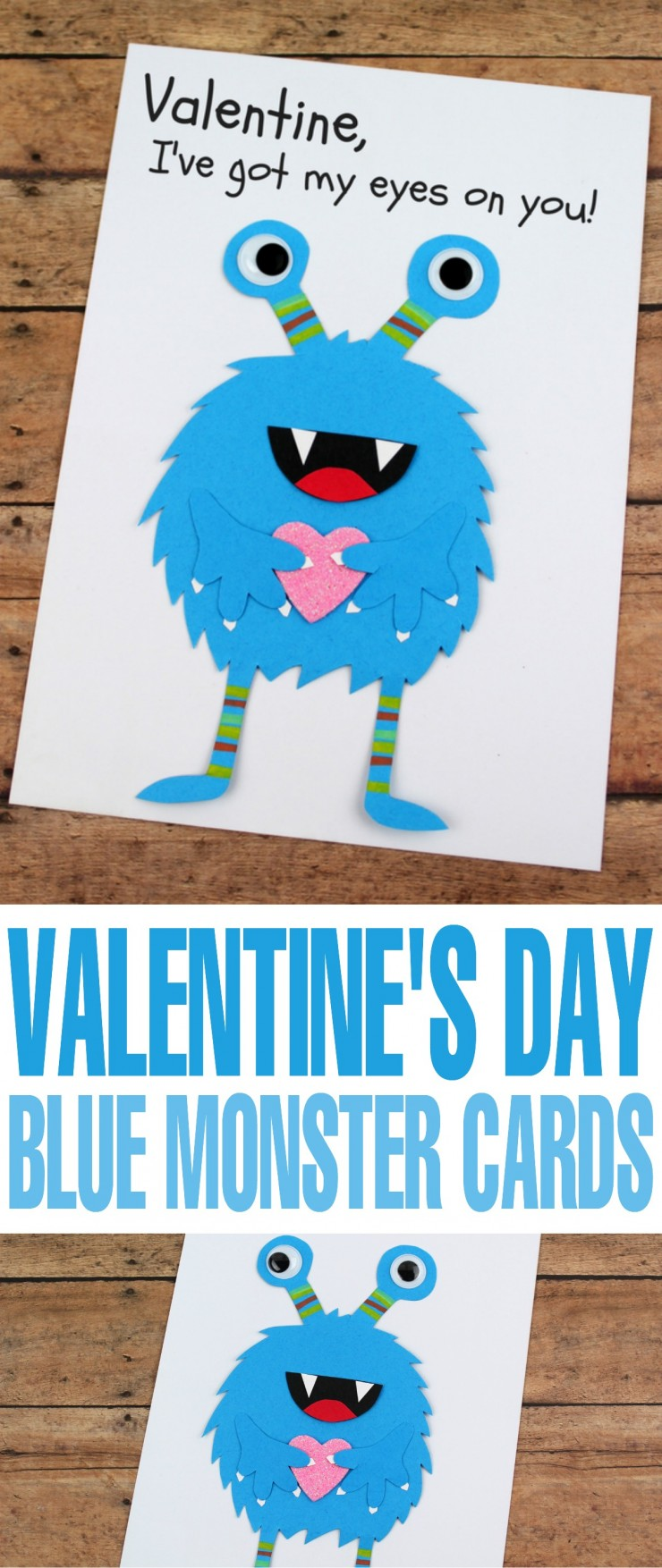 Valentine's Day is coming up and while it can be difficult to figure out how to treat your sweetheart, a hand made card is always going to be a hit. This DIY Valentine's Day Blue Monster Card is the perfect way to show your Valentine you think they are a scream!