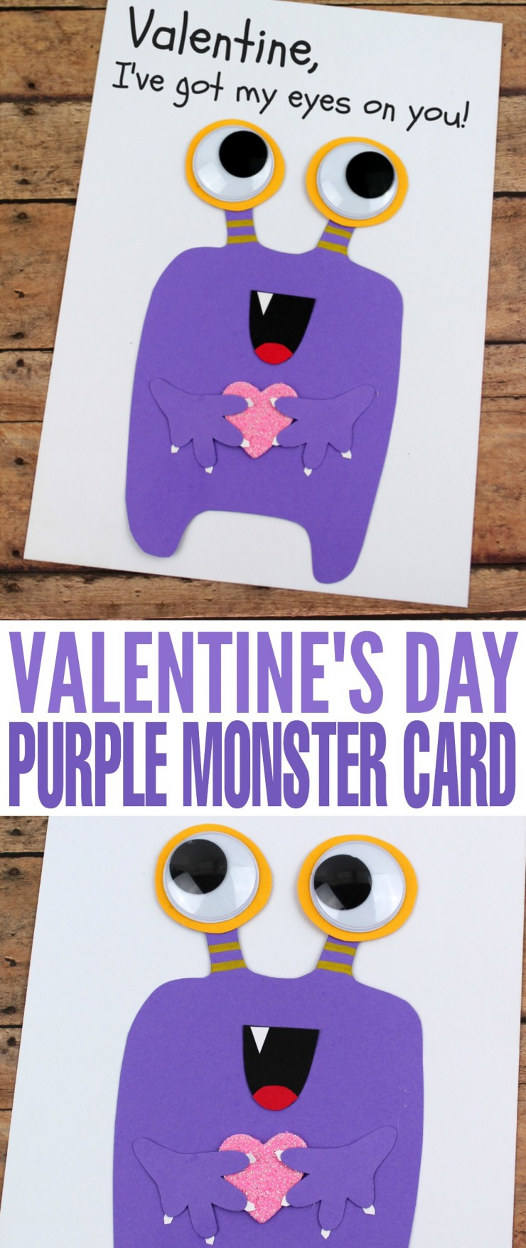 Valentine's Day is coming up and while it can be difficult to figure out how to treat your sweetheart, a hand made card is always going to be a hit. This DIY Valentine's Day Purp;e Monster Card is the perfect way to show your Valentine you think they are a scream!