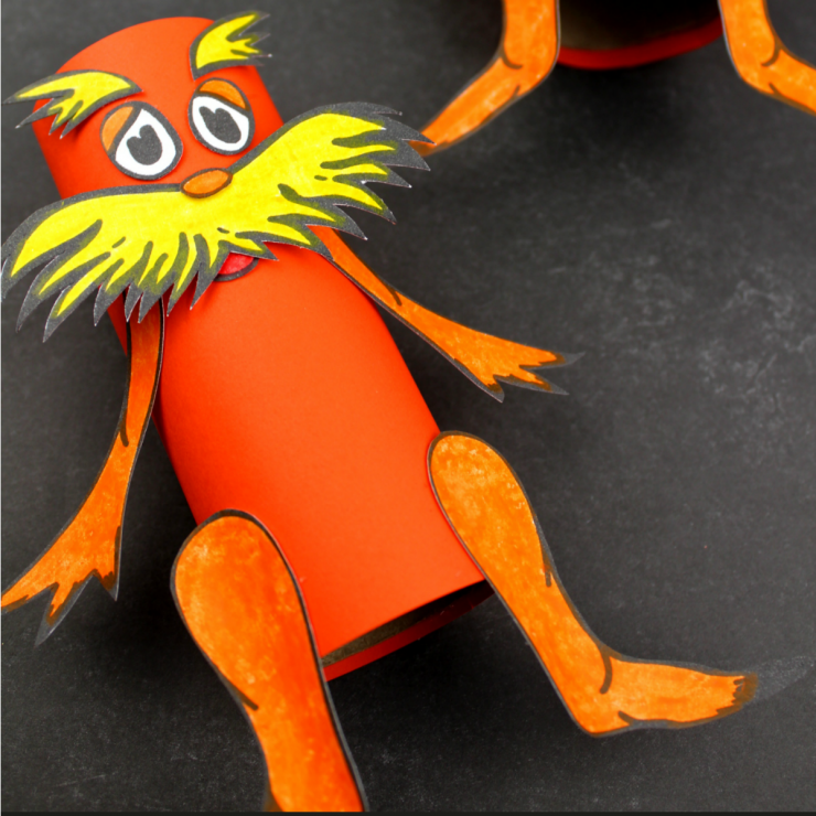 Toilet Paper Tube Lorax Colouring Craft