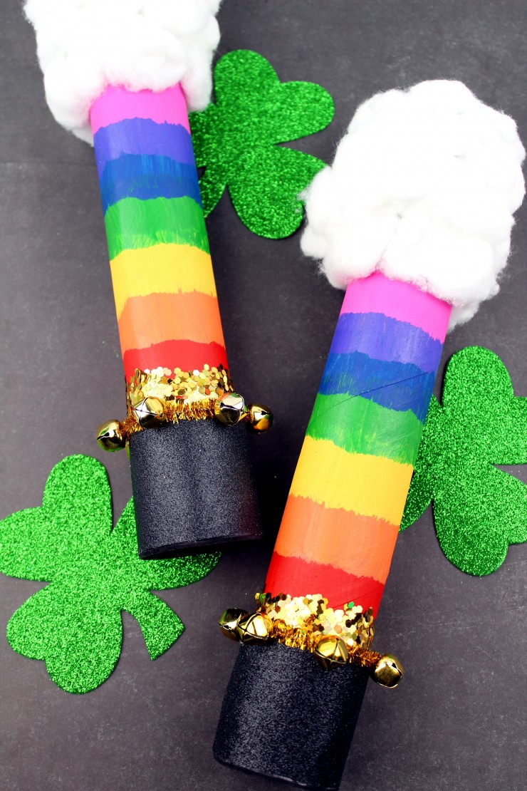This St. Patrick's Day Rainbow Rain Stick is fun craft for kids that result in a music maker they can celebrate the day with. This rainbow rain stick features clouds, a rainbow and even a pot of gold at the end. It's a whimsical music maker perfect for celebrating St. patrick's day with kids!