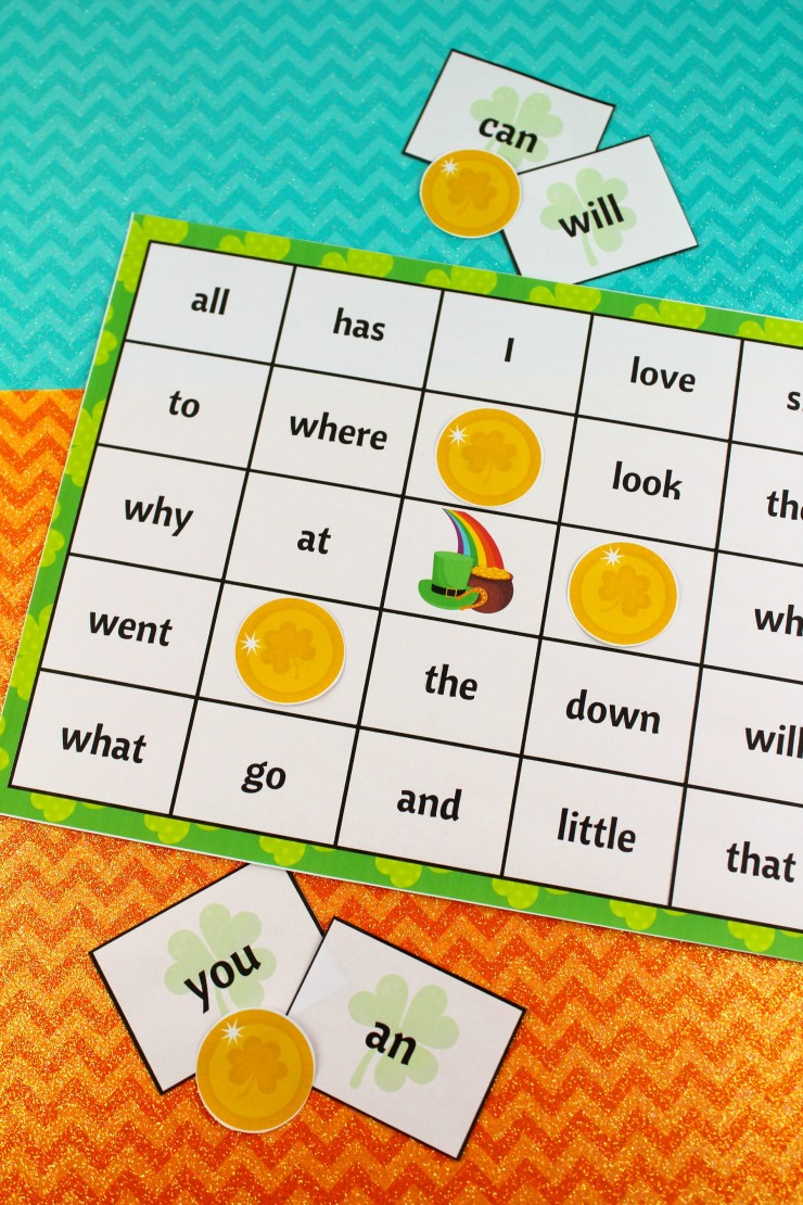 This free printable St. Patrick's Day Sight Word Bingo set are a super fun way to celebrate St. Patrick's Day while learning! Use them in the classroom or at home, early readers will love to play this sight word bingo game!