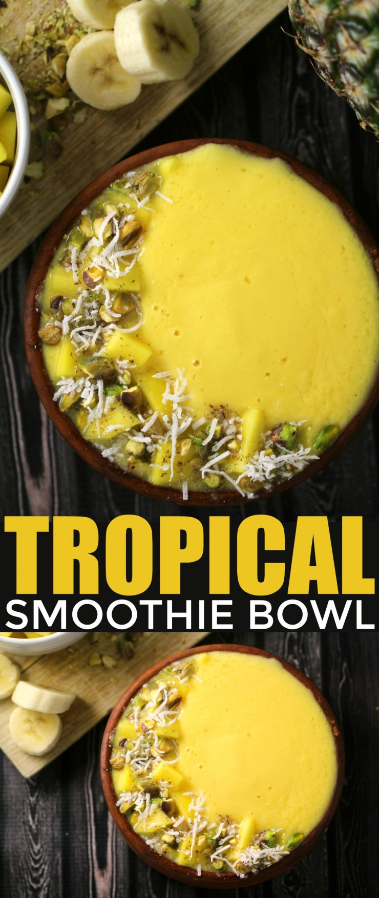 This Tropical Smoothie Bowl is a great choice for breakfast with the mellow sweetness of bananas and mango combined with the tang of pineapple for an irresistibly fresh bowl.