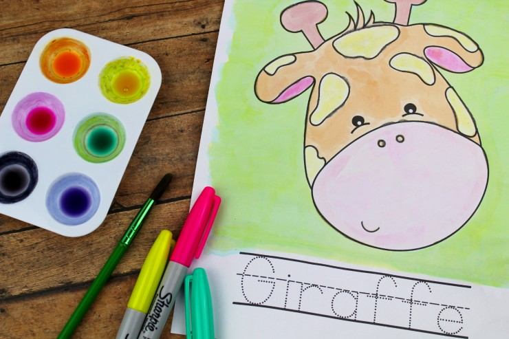 This Sharpie Watercolour Zoo Preschool-K Printable Pack features 16 pages of zoo animal themed fun for kids! Invite your children to paint the zoo animals! Let them trace the word with the paintbrush or a marker.