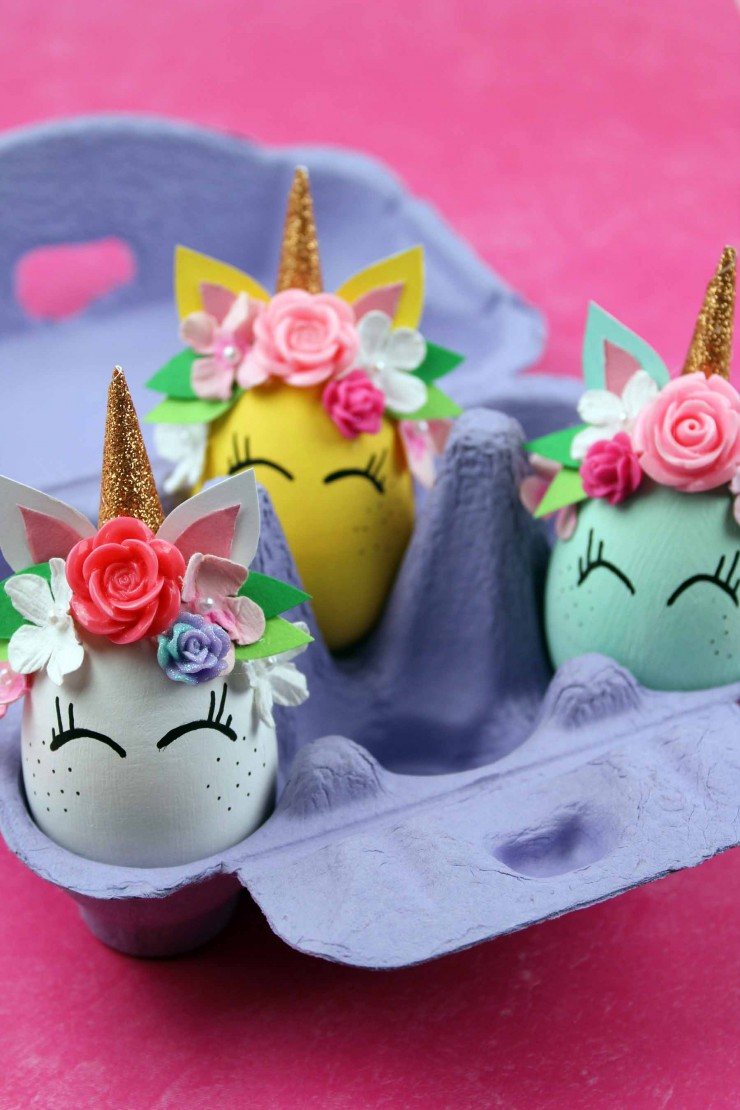 These Unicorn Easter Eggs are an easy Easter craft that results in adorable home décor for the Easter season. These unicorns are just the cutest with their floral crowns and freckled cheeks!