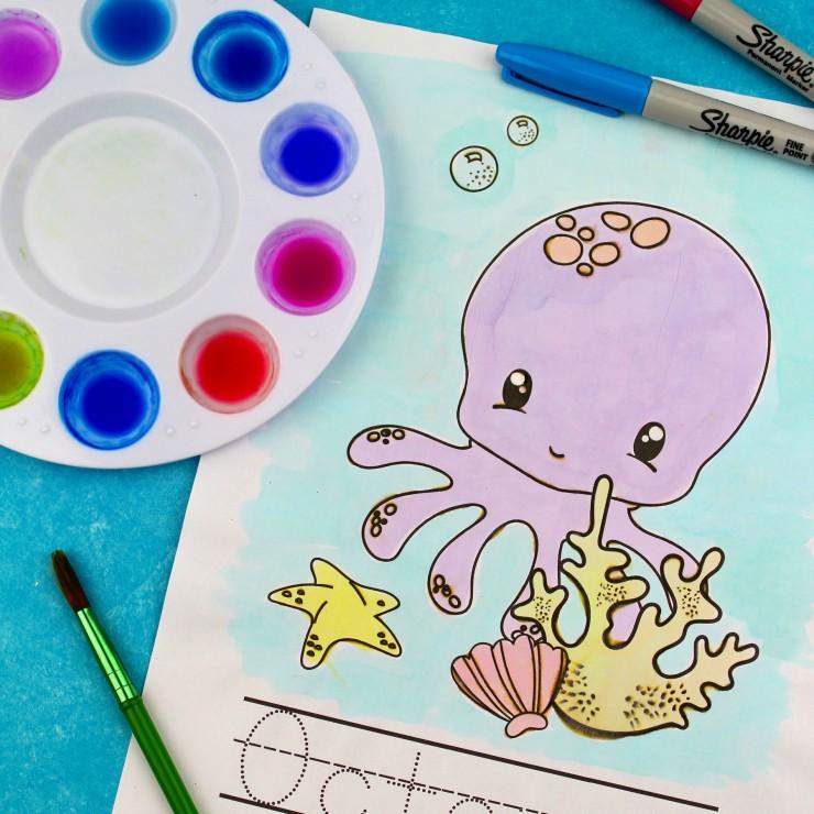 Sharpie Watercolor Ocean Preschool-K Printable Pack