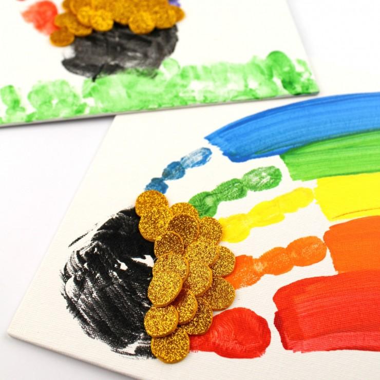 St. Patrick's Day Handprint Rainbow Canvas