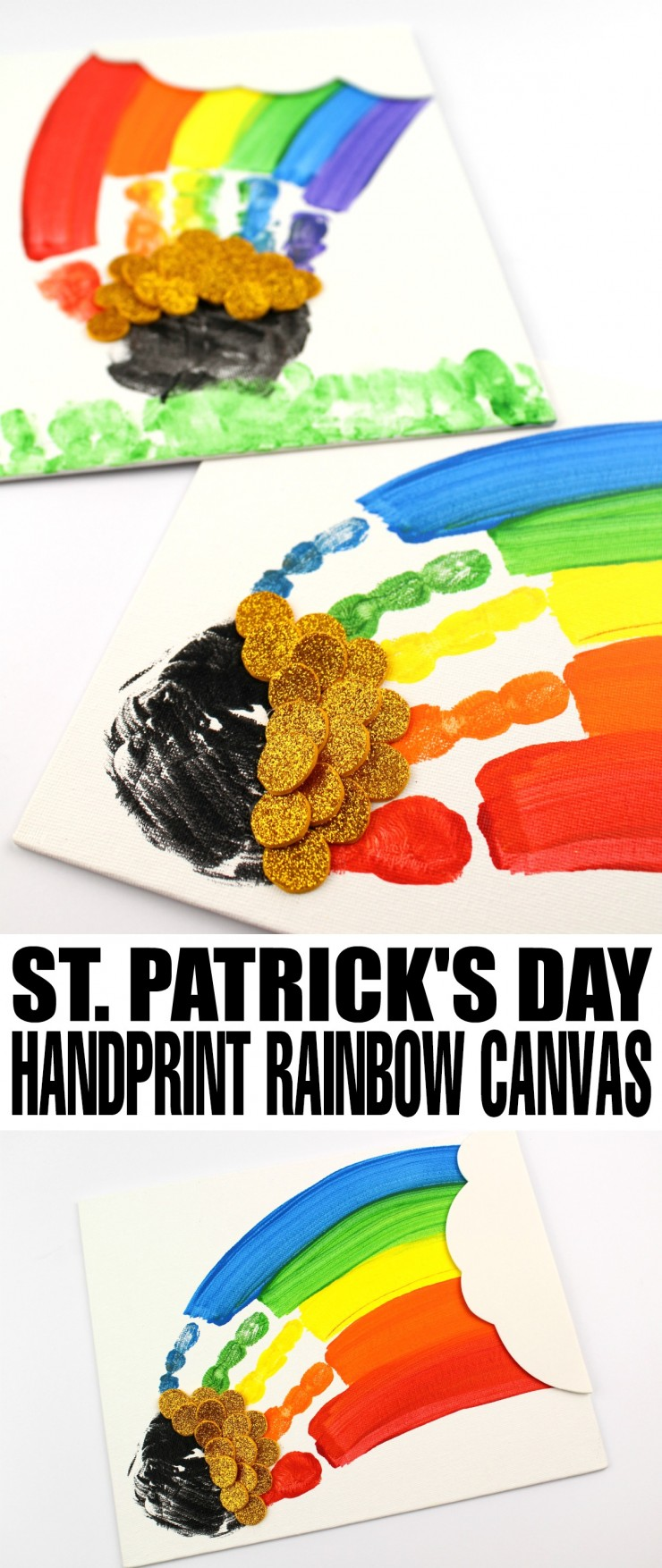 This St. Patrick's Day Handprint Rainbow Canvas is fun craft for kids that also makes for a lovely keepsake gift or art to hang up on your childs wall.