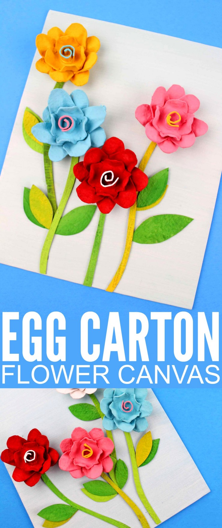 This Egg Carton Flower Canvas is a fun craft for kids that they can gift to mom for mother's day! It is easy to make and allows kids to get really creative with recycled materials!