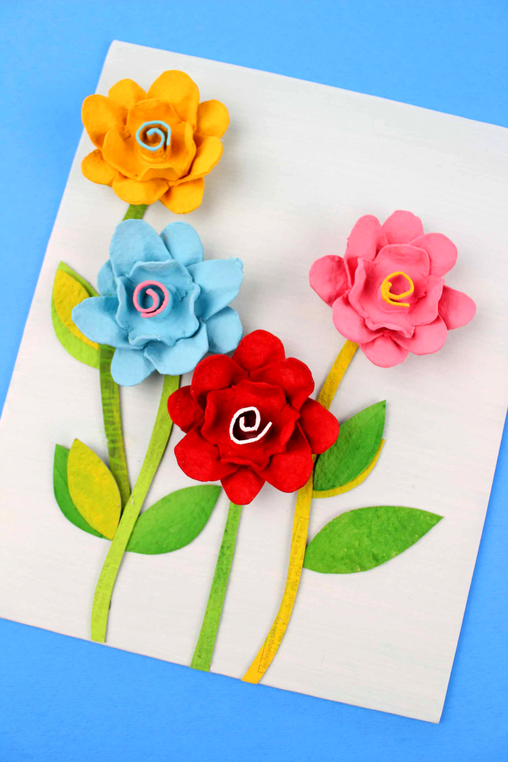 Egg Carton Flower Canvas Frugal Mom Eh