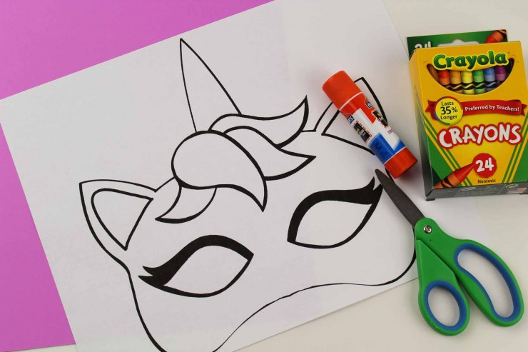 Unicorn Mask Craft + Printable Colouring Sheet Mask - Frugal