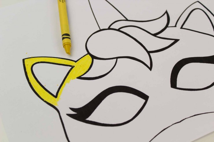 picture regarding Printable Unicorn Mask titled Unicorn Mask Craft + Printable Colouring Sheet Mask - Frugal