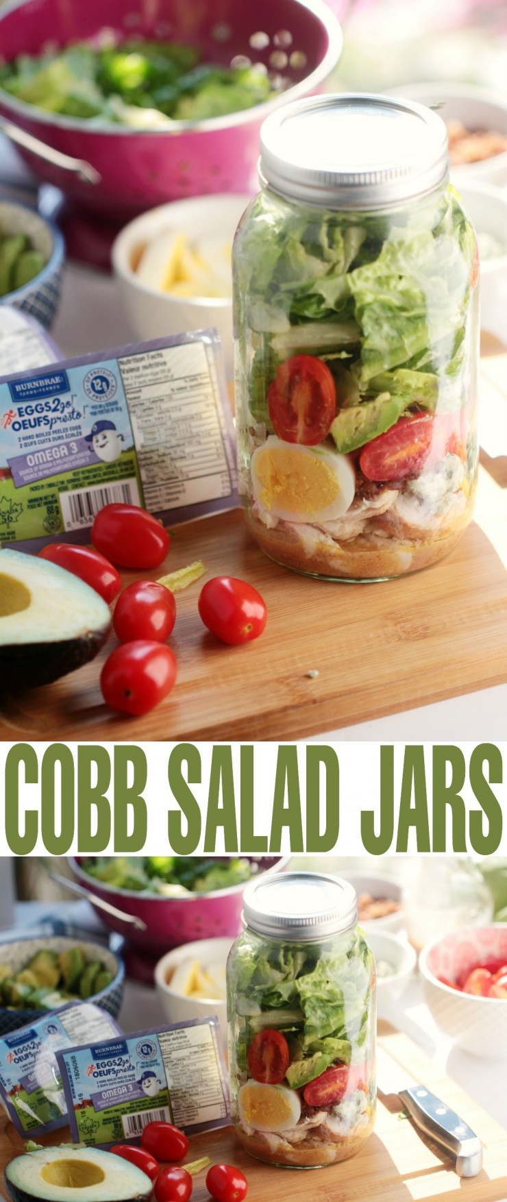 his Cobb Salad in a Jar recipe is a great way to make your weekdays easier by preparing them ahead of time so you can grab and go. It's a nutritious and filling salad packed full of protein.