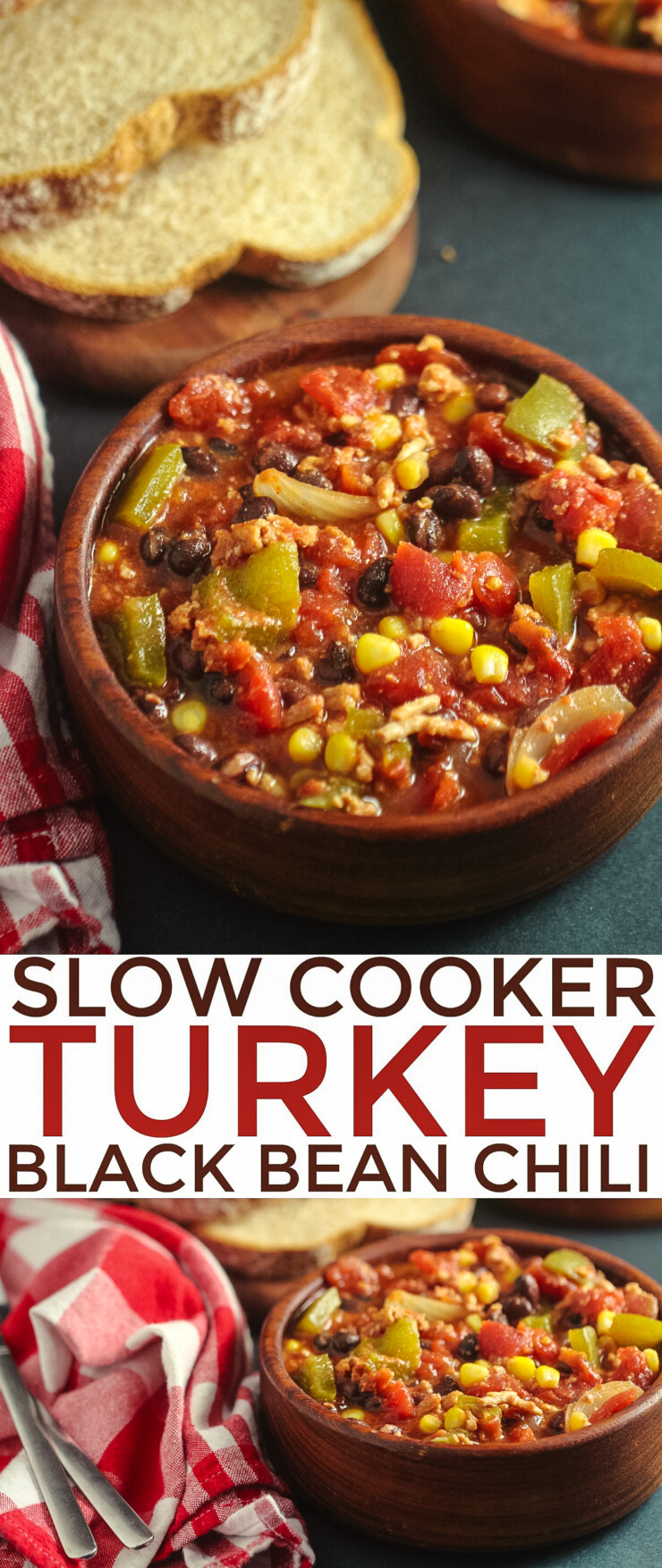 This Slow Cooker Turkey Black Bean Chili is an easy and nutritious meal you can prep ahead and freeze for easy weekday meals.