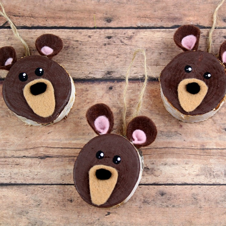 Wood Slice Brown Bear Ornaments