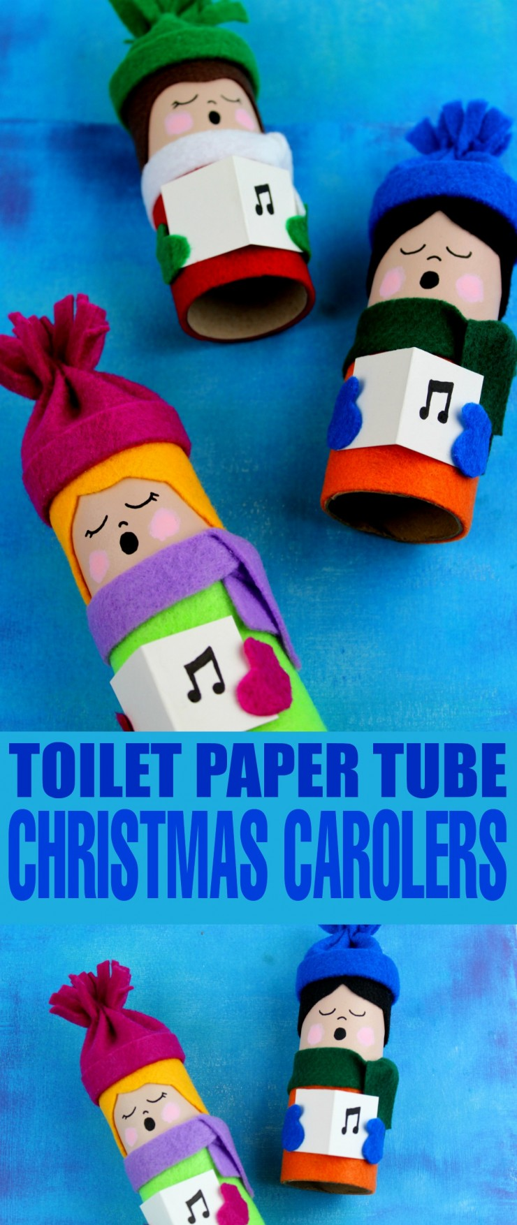 This Toilet Paper Tube Christmas Carolers craft is a great way to celebrate the season and create a unique display while re-using toilet paper rolls!