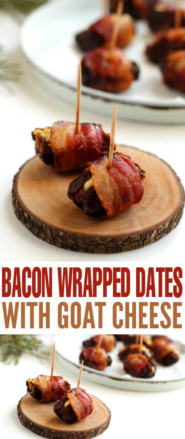 These Bacon Wrapped Dates with Goat Cheese are a perfect holiday appetizer. This is one of those party foods that will have everyone asking you for the recipe!