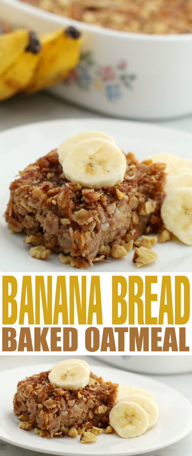 Start your morning right with this delicious and comforting Banana Bread Baked Oatmeal. It's an easy breakfast recipe that will fill you up in the most satisfying way!