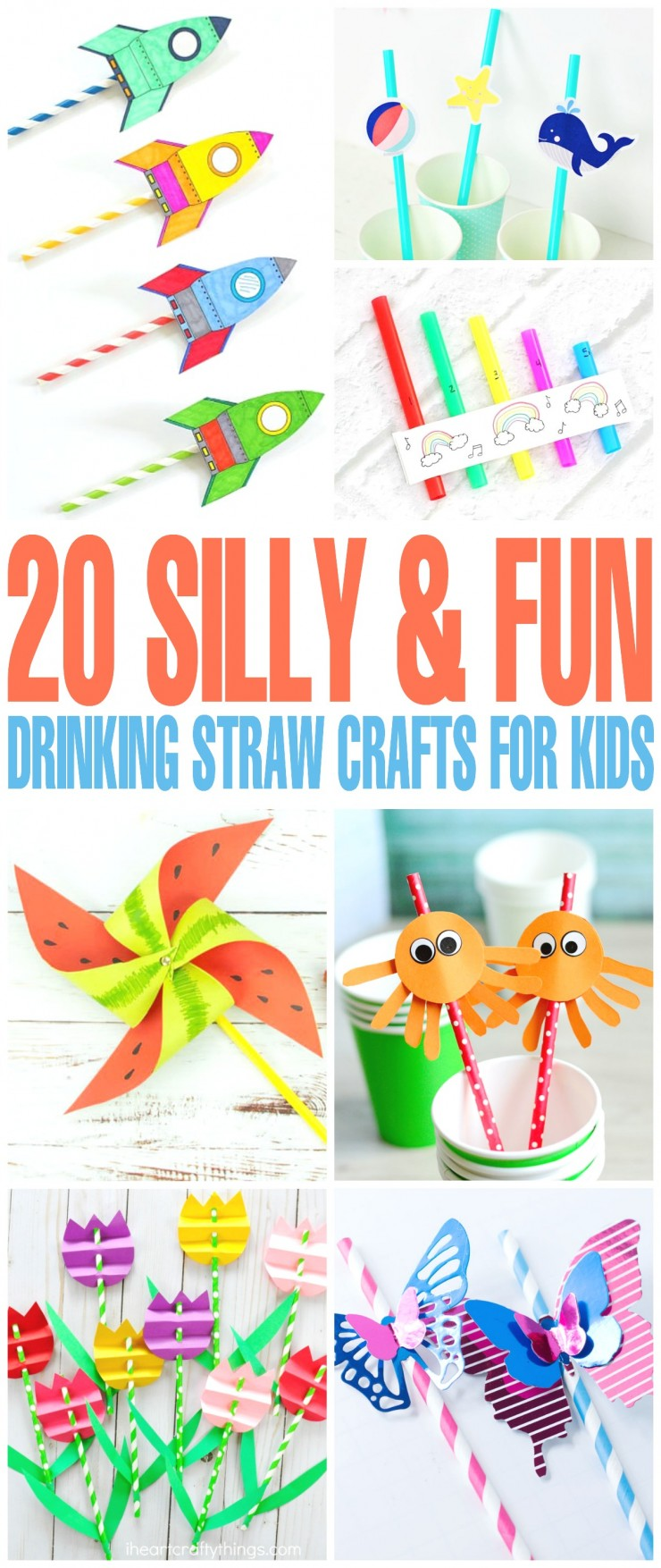 Looking for inexpensive crafts to make with straws? Check out these 20 silly & fun drinking straw crafts kids!