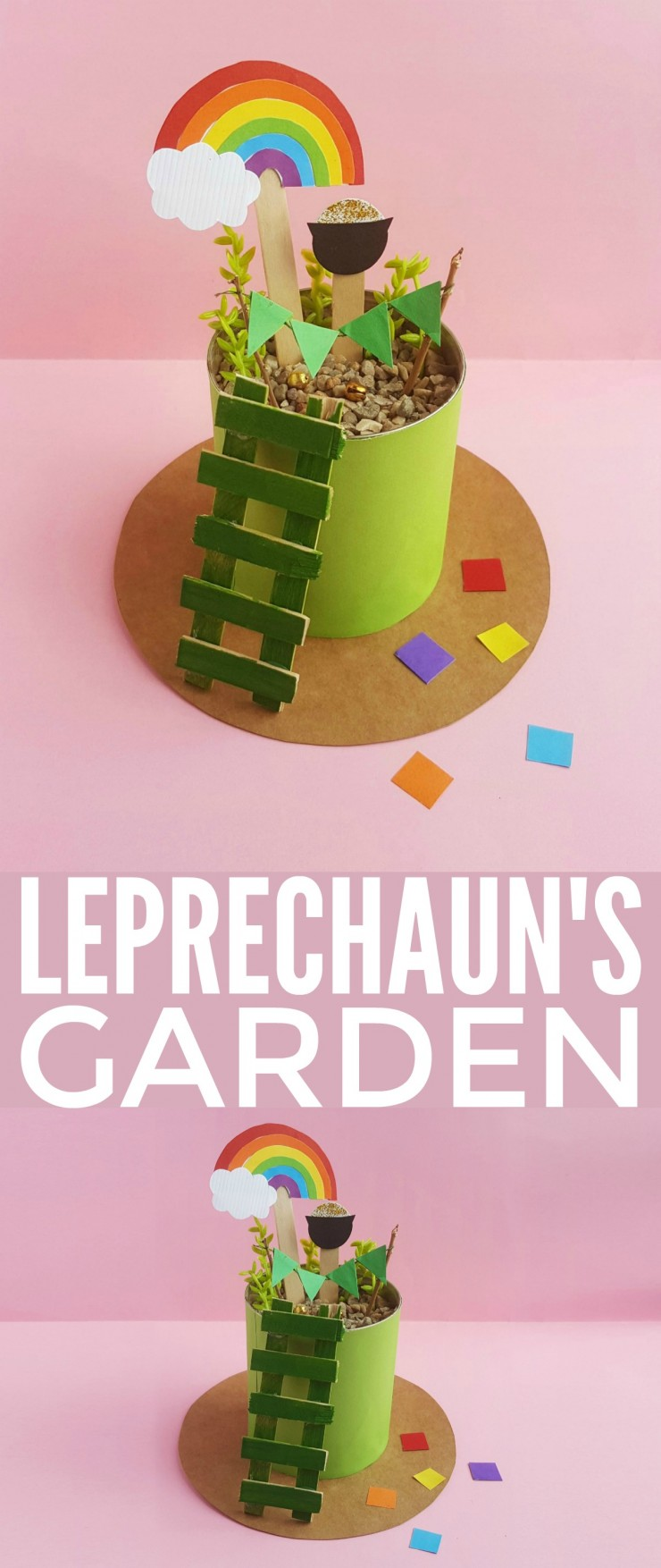 This mini Leprechaun's Garden is an adorable St. Patrick's Day Craft for kids that is sure to spark their imaginations and creativity!