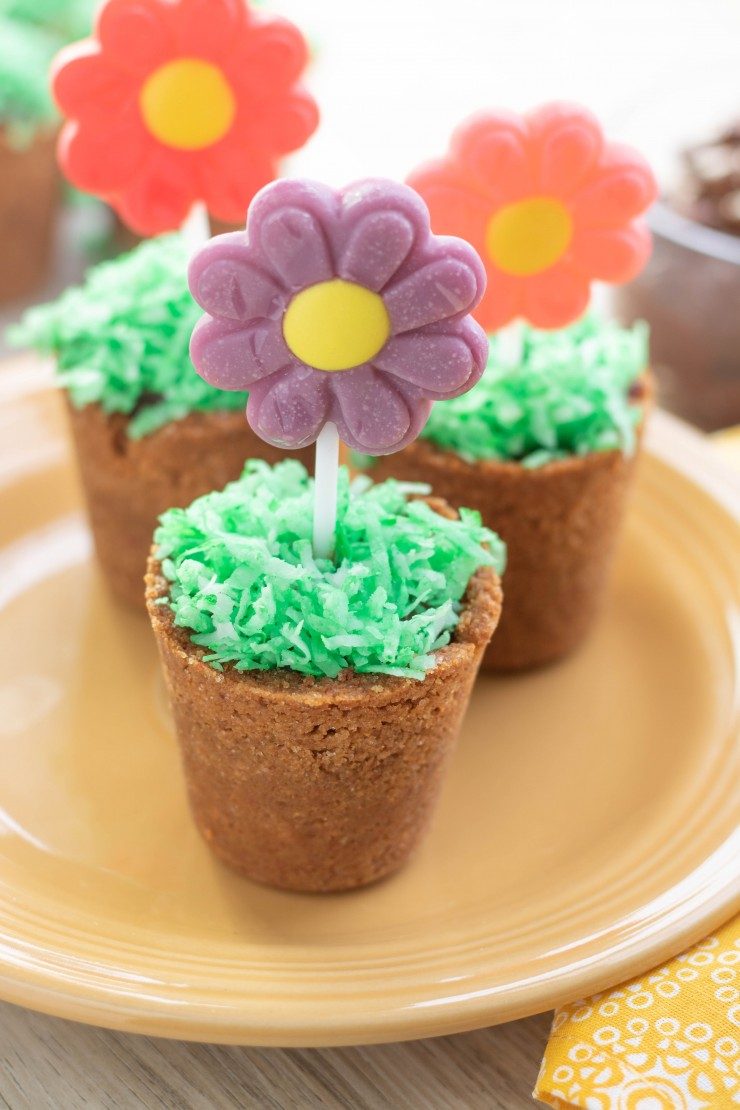 These Spring Flower Pot Desserts are a darling dessert for spring! Kids will love making, and eating them with mom, they are a fun Easter party treat for kids too.