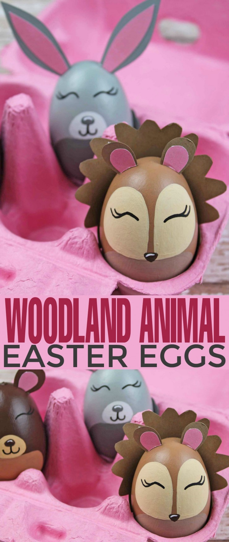 If you're looking for a unique Easter egg decorating idea  then these adorable Woodland Animal Easter Eggs are perfect. This set of Easter egg animal designs are gorgeous and are surprisingly easy to make thanks to the free.