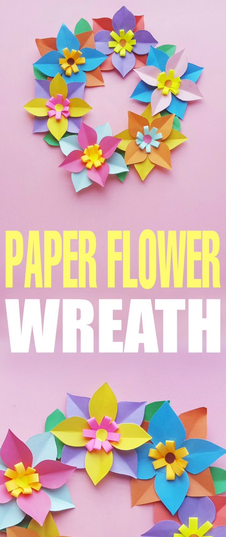 This paper flower wreath is a fun spring or summer craft for kids.  Use the free printable template to create the flowers or allow your kids to design their very own flowers for a unique look all of their own!