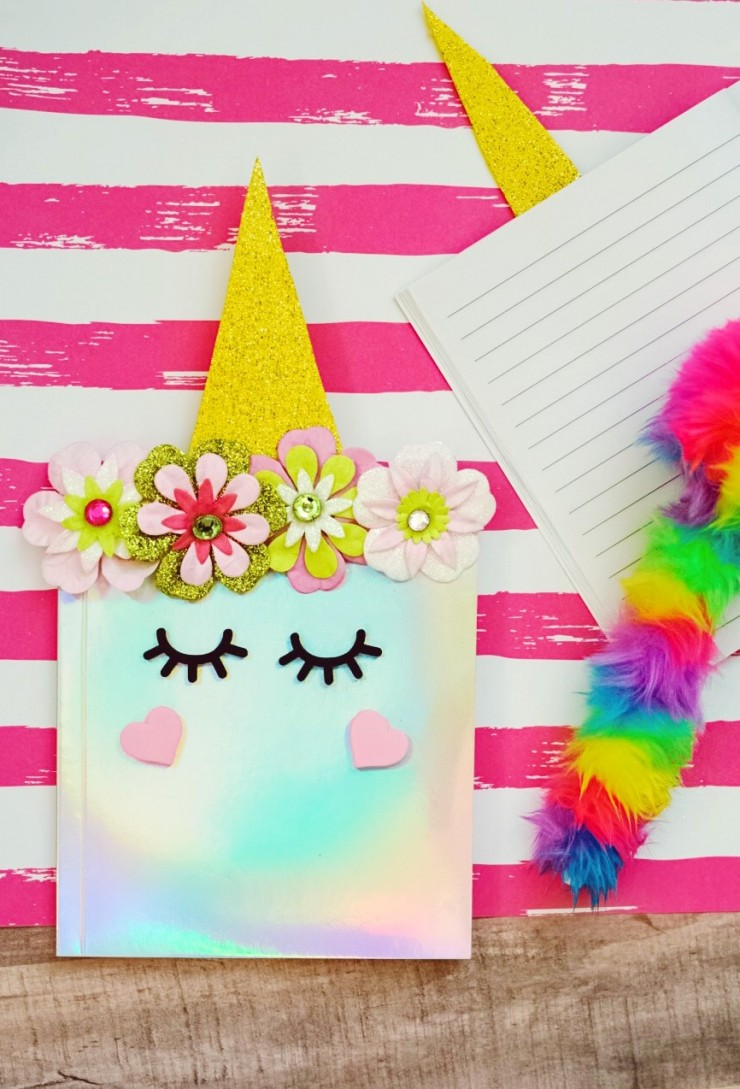 This DIY Unicorn Notebook is a fun project for kids to personalize their own notebooks in a really cute way.