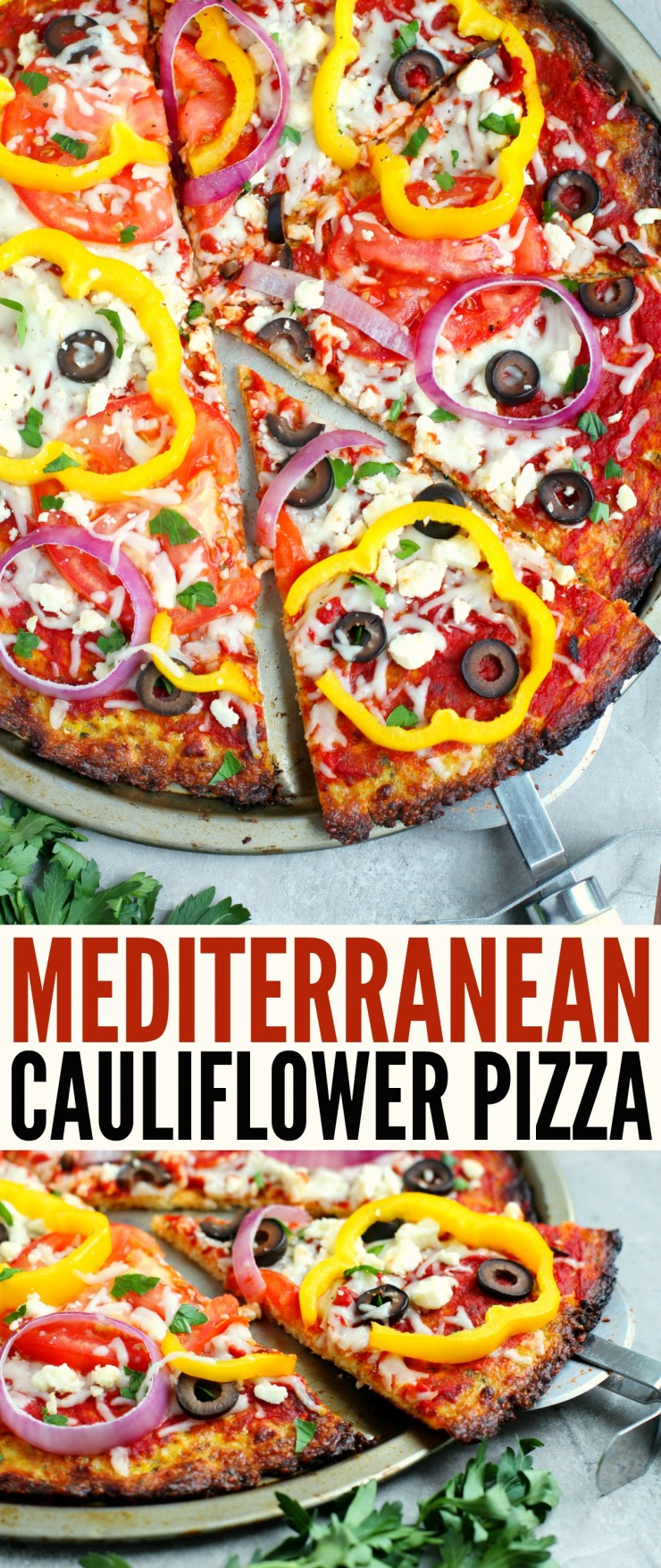This low carb Mediterranean Cauliflower Pizza is a delicious and healthy twist on a family favourite. The crisp flavourful crust is sure to be a hit!