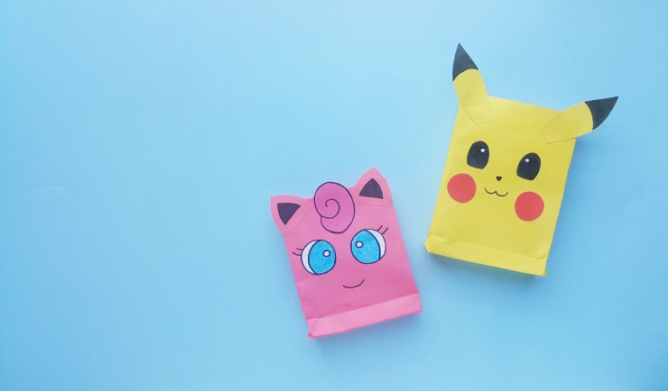 This Pokemon Inspired Kids Craft is a great Pokemon birthday party activity - kids will love making their very own Pokemon paper bags to fill with treats!