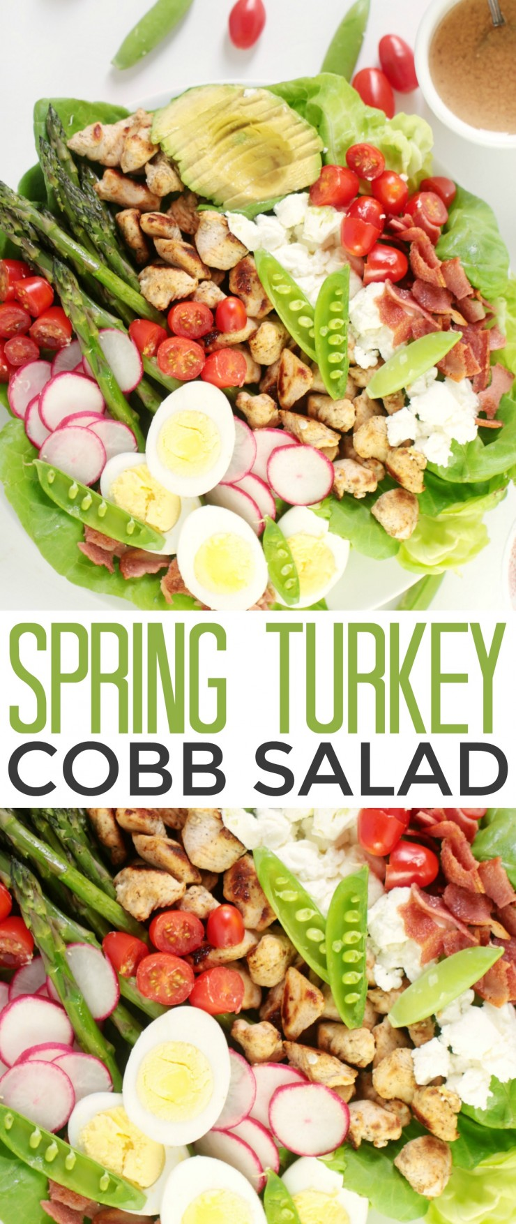 This Spring Turkey Cobb Salad recipe is a twist on the traditional cobb with a burst of fresh springtime favourites like sugar snap peas and asparagus! Perfect for an everyday family meal or a special occasion lunch, this cobb salad featuring Canadian Turkey and fresh spring produce is sure to be a hit!