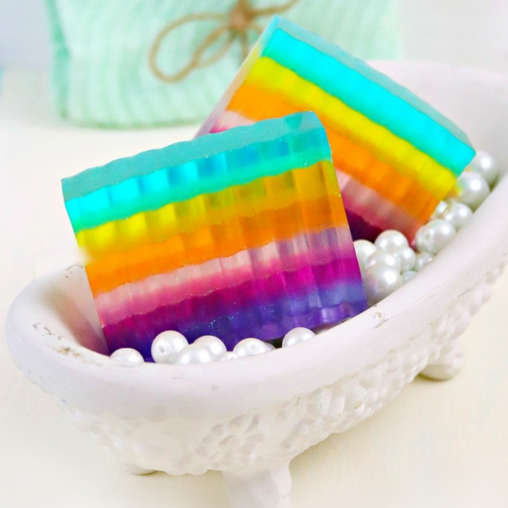 DIY Glittery Layered Rainbow Soap