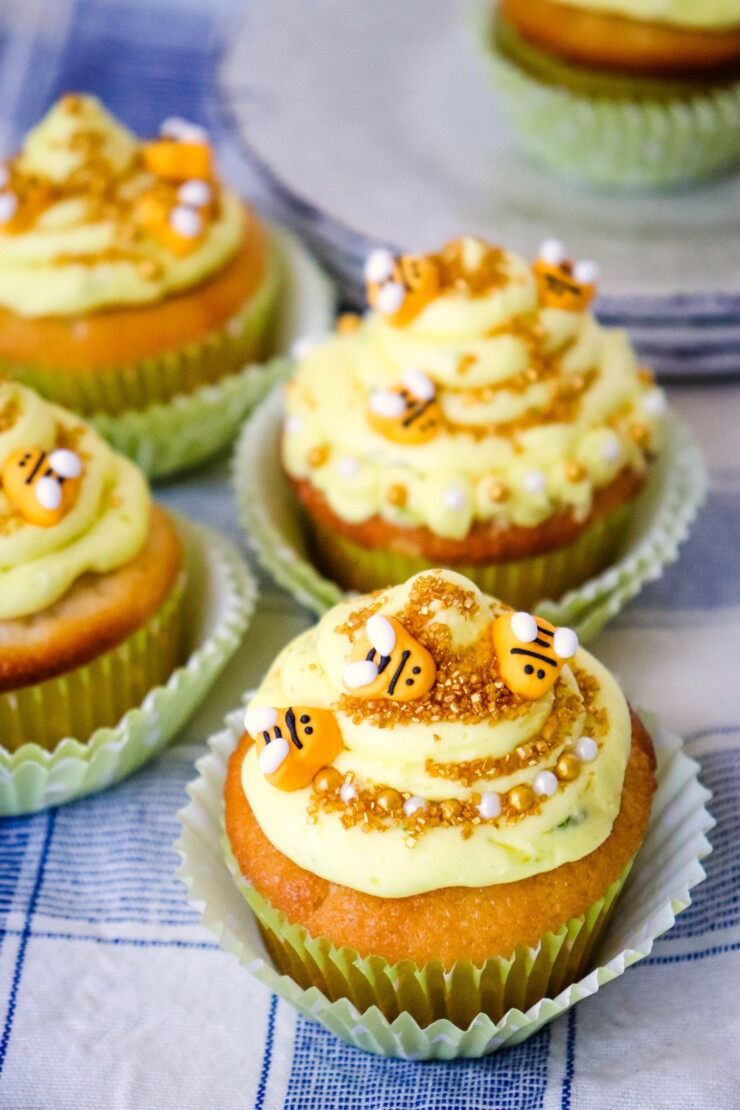 These Lemon Beehive Cupcakes are as delicious as they are stunning. A perfect additon to any party - they make a yummy treat for baby showers, themed birthdays, picnics and more!
