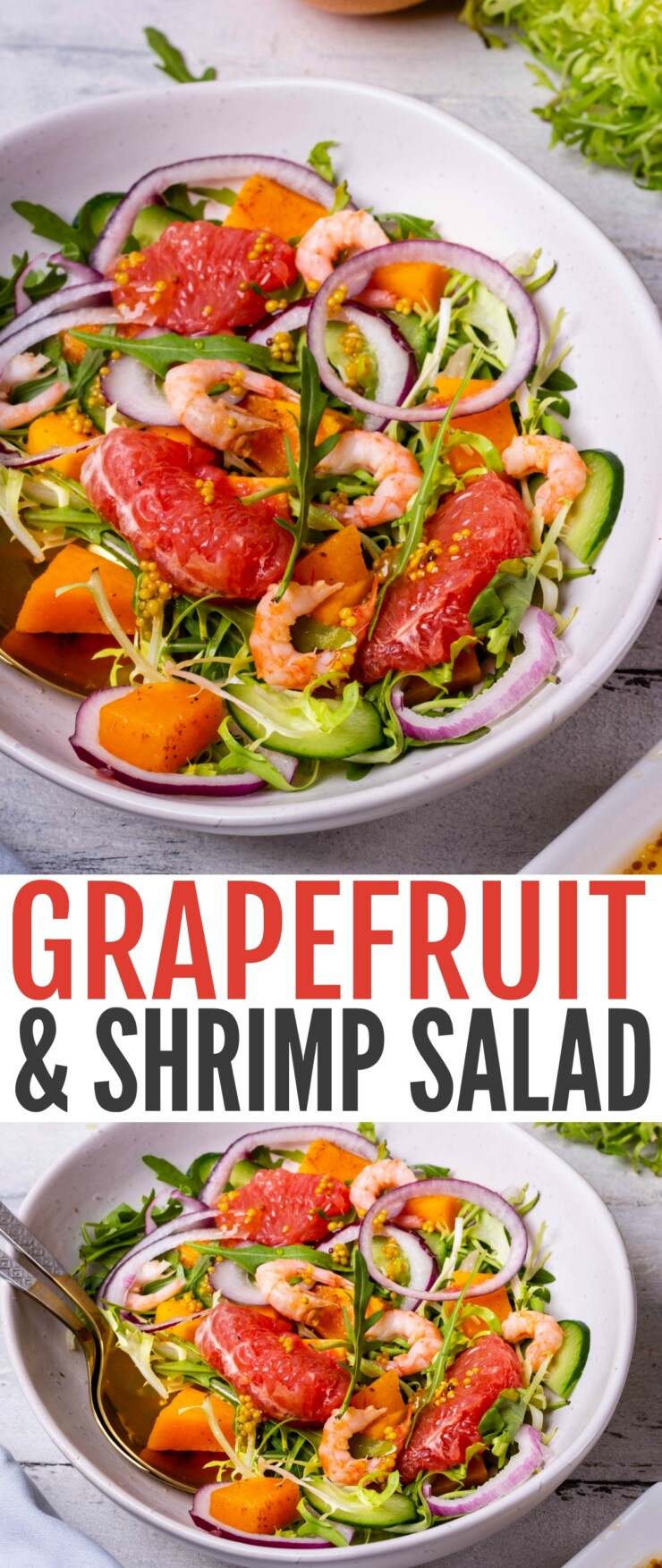 This Grapefruit & Shrimp Salad is just the perfect size for lunch for one but can easily be made for a crowd, simply multiply the ingredients for a delicious salad all will enjoy.