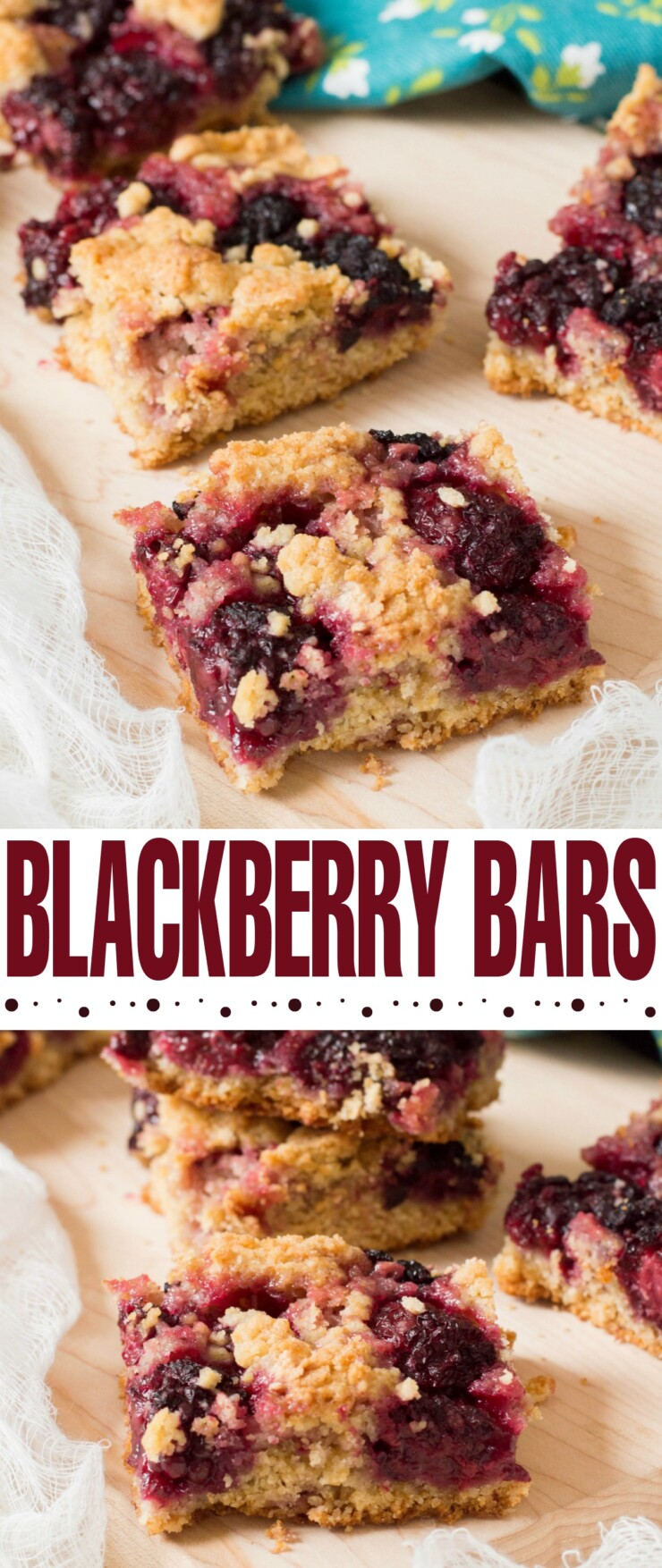 These blackberry bars are made with fresh blackberries - a delicious dessert paired with a hot mug of coffee on a summer evening.