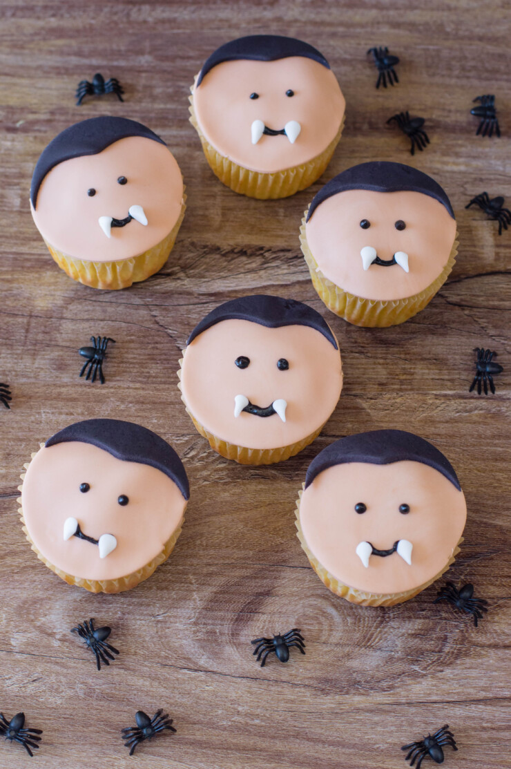 These adorable Vampire Cupcakes are easy to make and decorate - a fun treat for classroom Halloween parties!