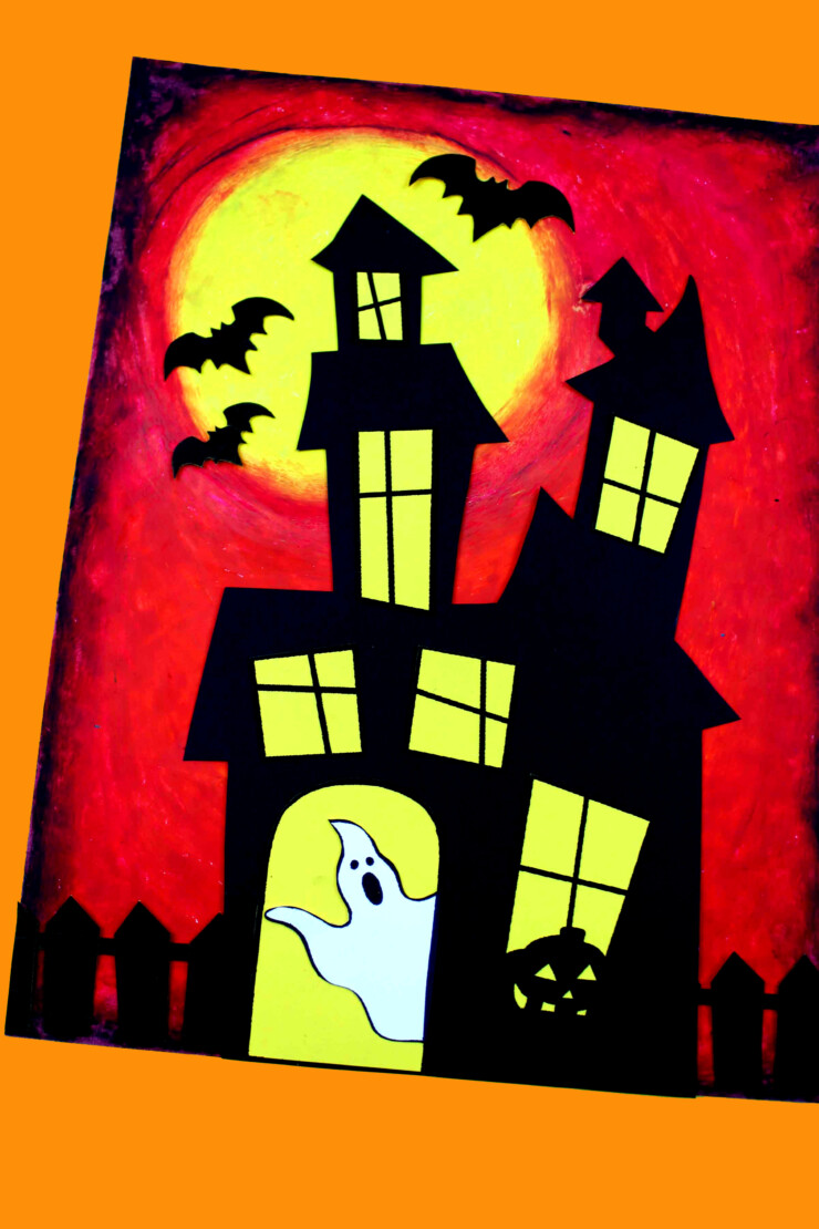 This Oil pastel haunted house craft for kids is a fun and easy project to celebrate the season and create spooky decor.