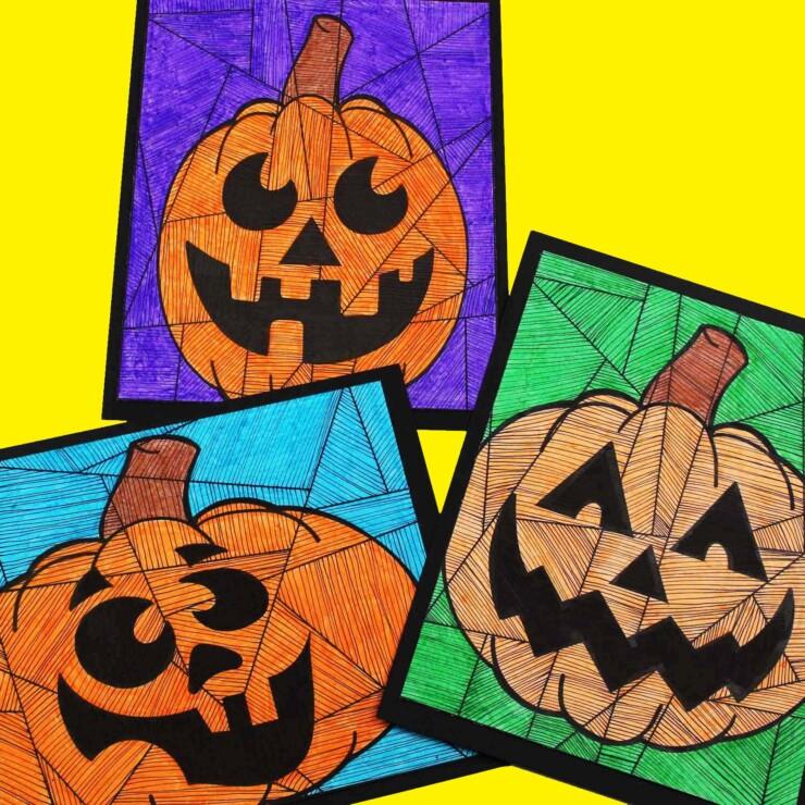 Line Study Pumpkin Art for Kids