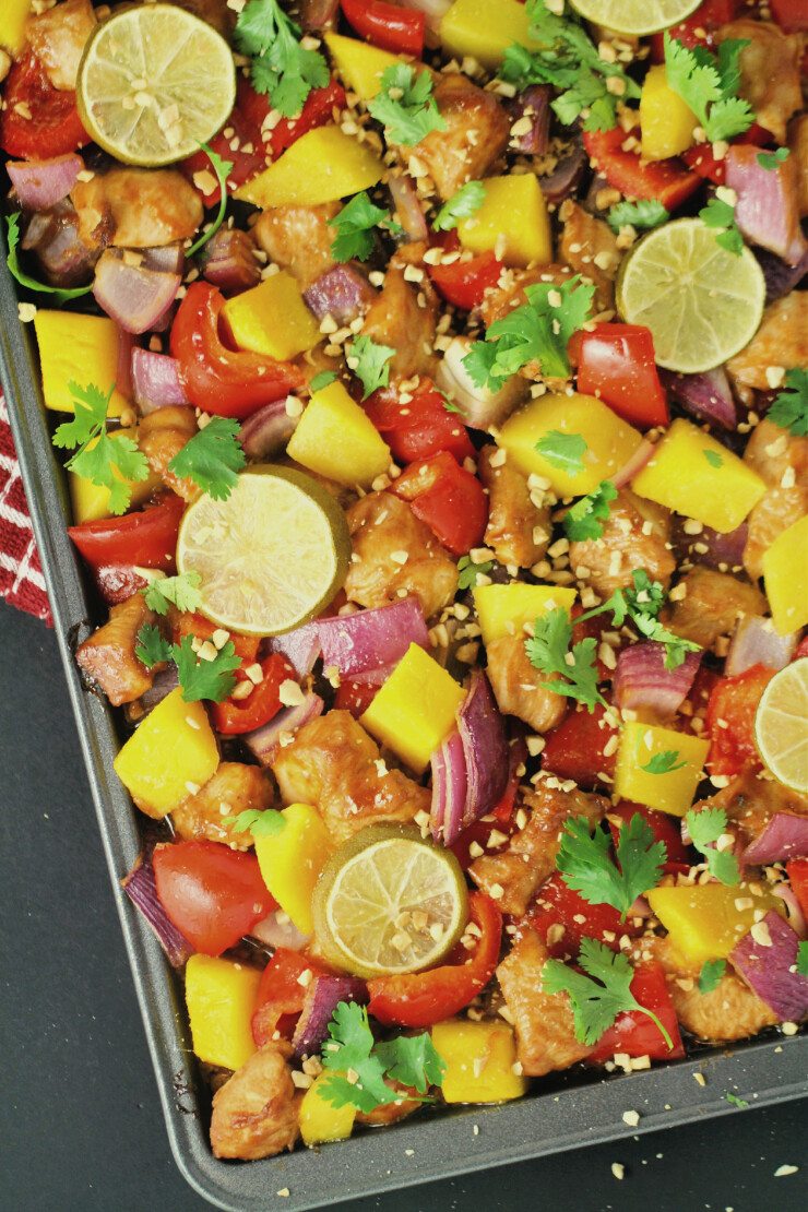 This sheet pan Thai turkey recipe can be made in the time it takes to boil a pot of rice and tastes just like take-out. This sheet pan meal is sure to be a family diner hit!