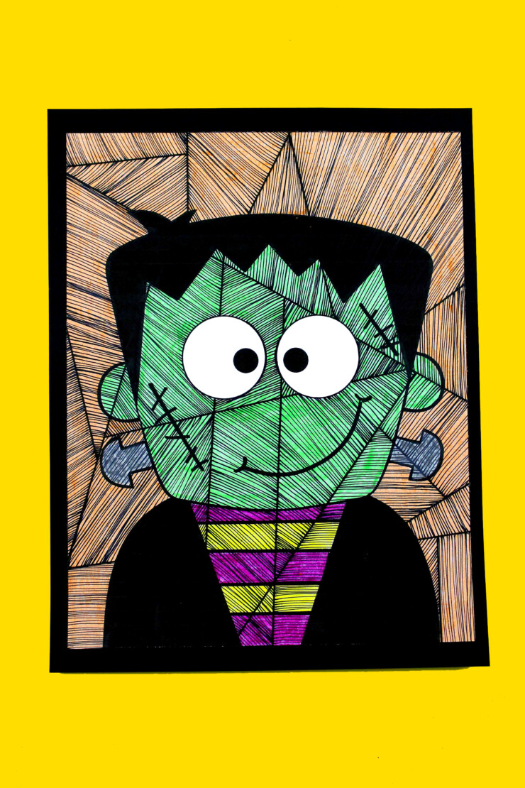 This Line Study Frankenstein Art for Kids is a fun project for Halloween that will let kids get really creative with lines and colours.