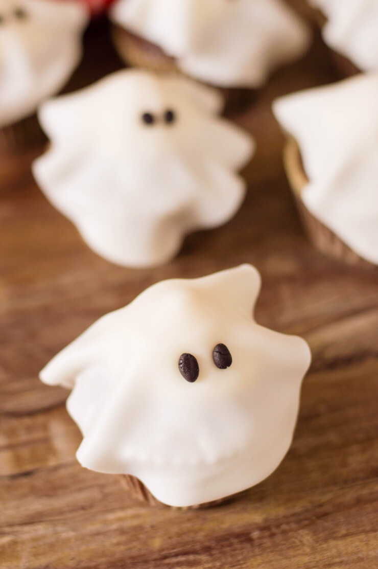 These Ghost Cupcakes are a simple spooky treat anyone can throw together for a little Halloween fun!