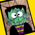 Line Study Frankenstein Art for Kids
