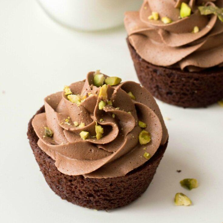 Hazelnut Chocolate Cupcakes with Pistachio Chocolate Buttercream